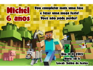 convite minecraft Masculino