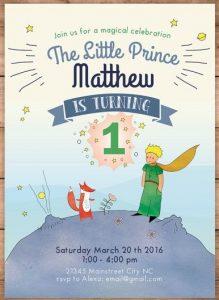 convite pequeno principe Simples