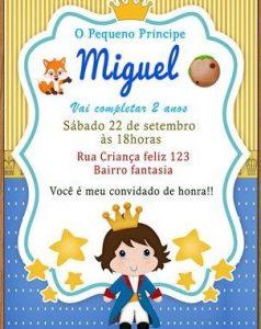 convite pequeno principe Moreno