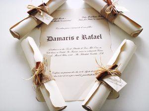 convite pergaminho Casamento