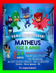 convite pjmasks Virtual