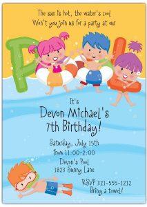 convite pool party Infantil