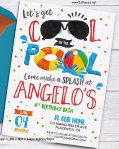 convite pool party Masculino