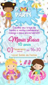 convite pool party Feminino