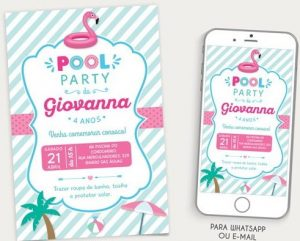 convite pool party Virtual