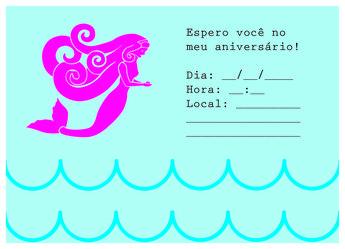 Convite Sereia Para Imprimir