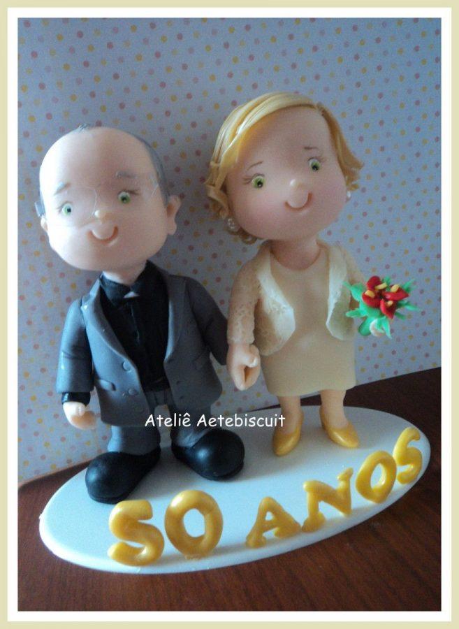Lembrancinha bodas de ouro Biscuit