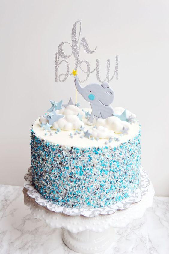 Bolo Elefantinho Azul
