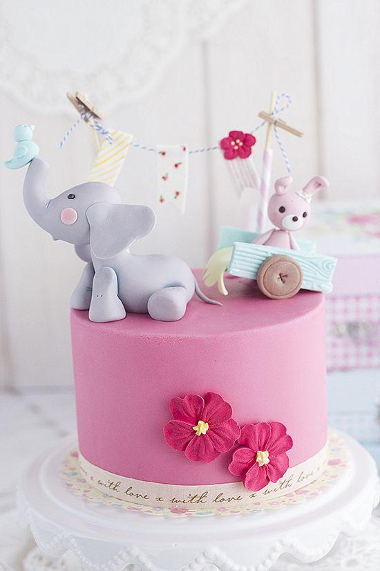 Bolo Elefantinho Rosa