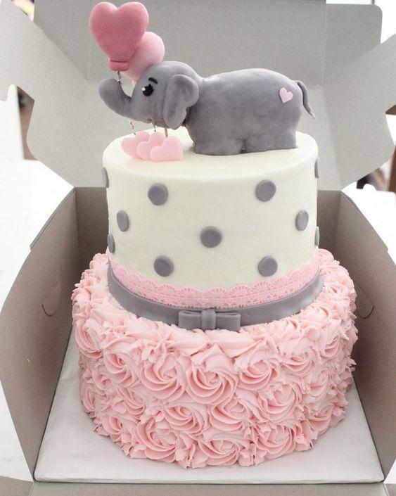Bolo Elefantinho Rosa e cinza