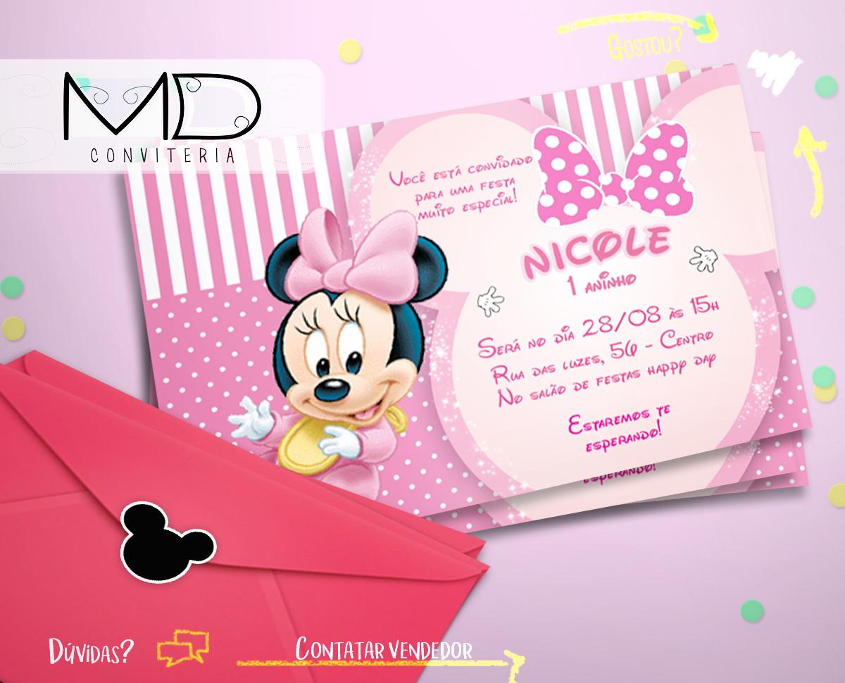 convite minnie rosa Baby