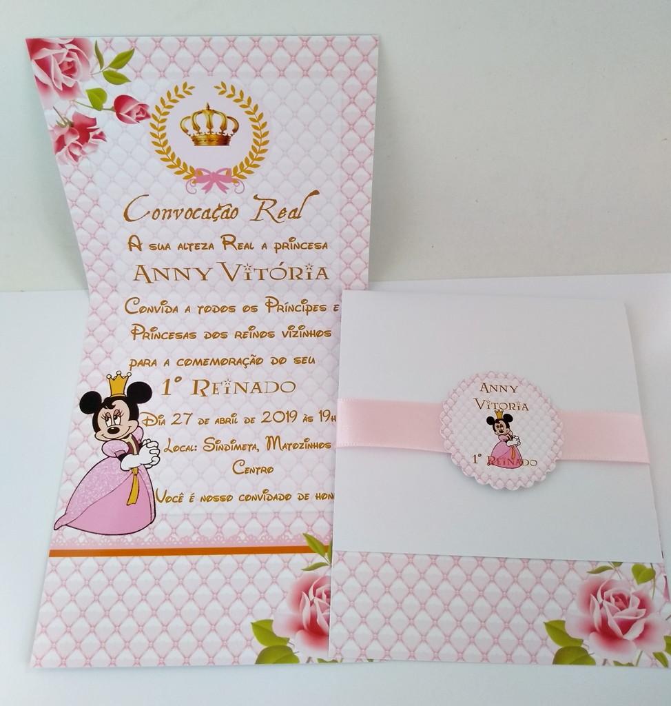convite minnie rosa E Dourado
