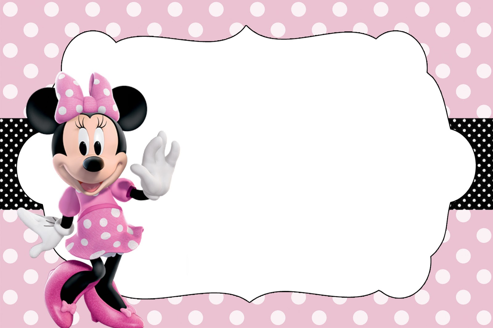 convite minnie rosa Para Editar