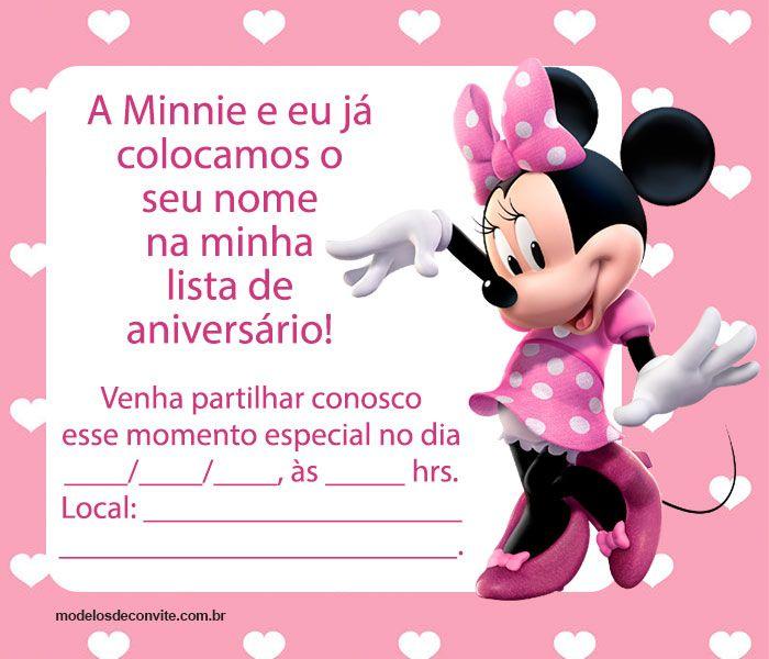 convite minnie rosa Para Imprimir