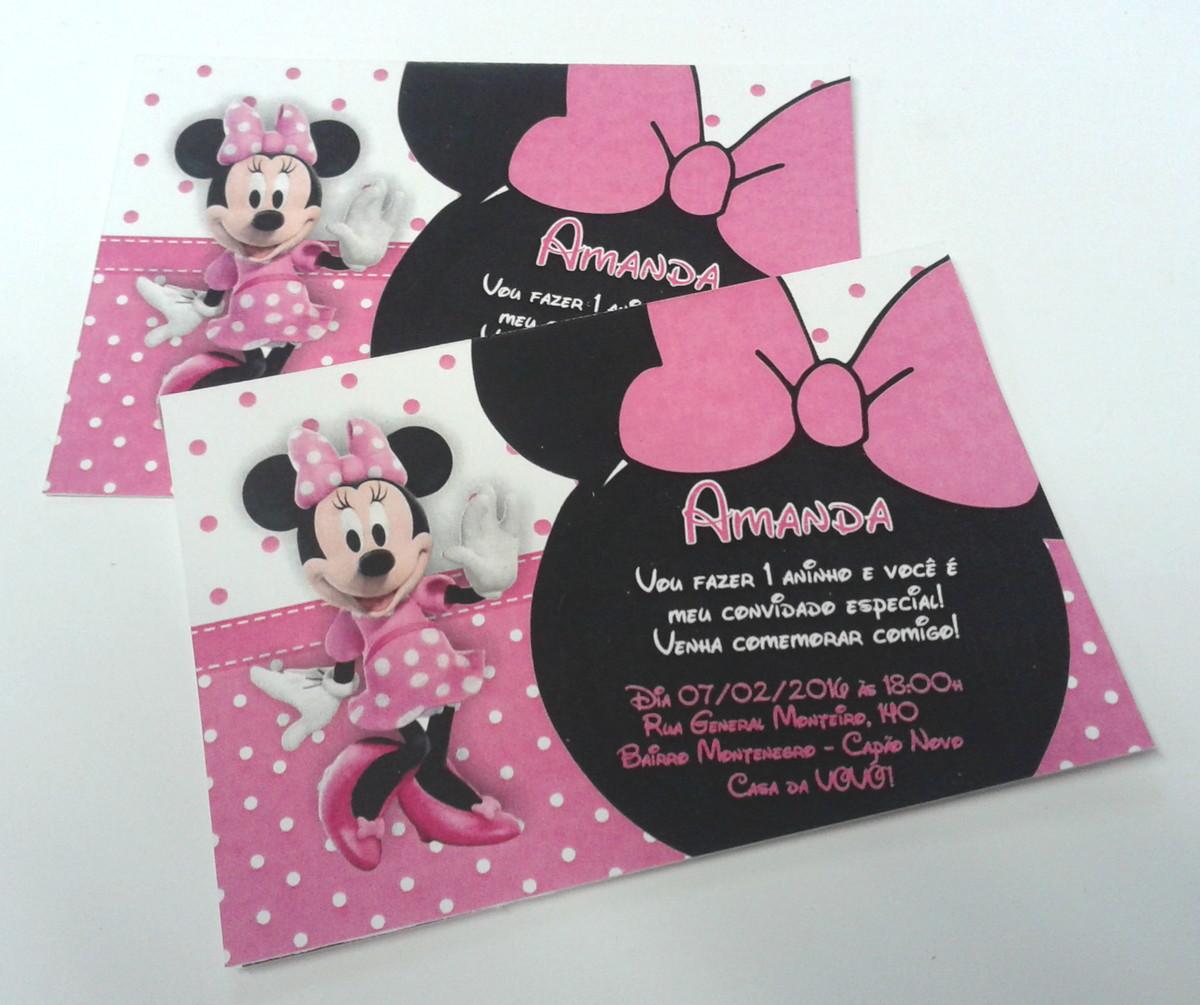 convite minnie rosa Simples
