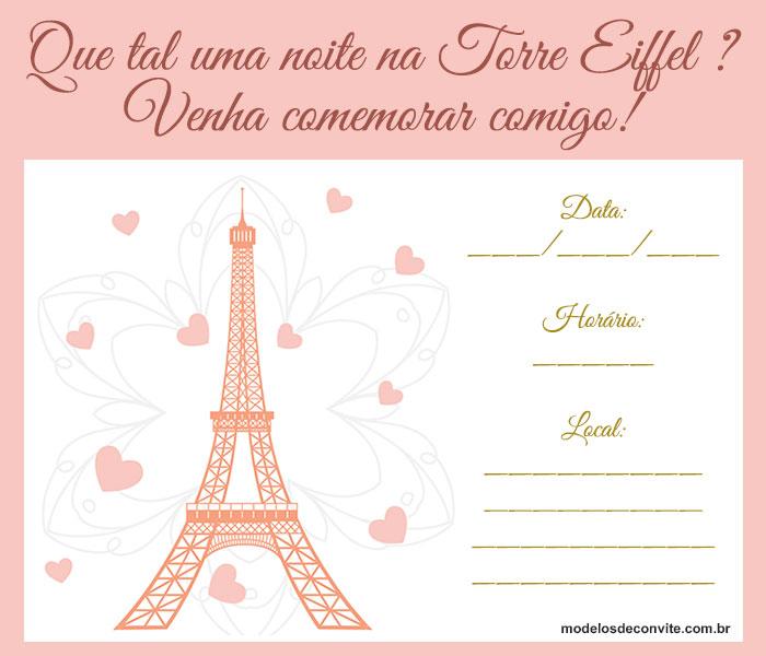 convite paris Para Imprimir