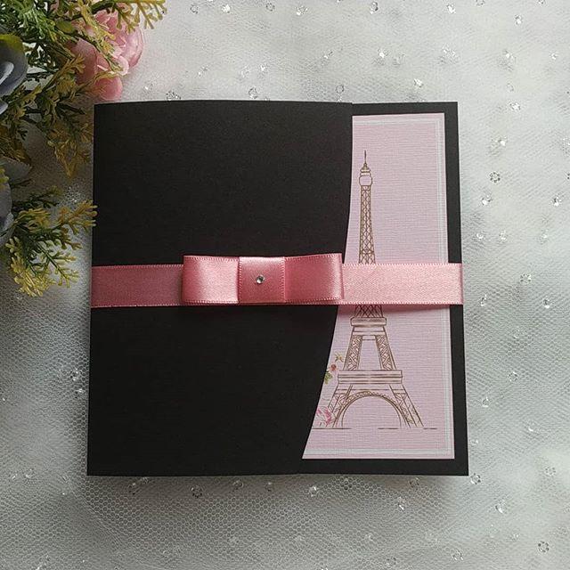 convite paris Rosa e Preto