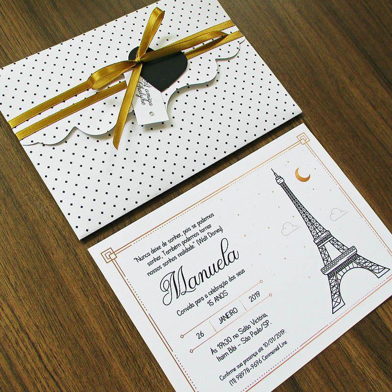 convite paris Simples