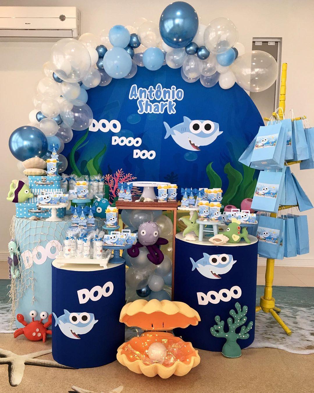 festa baby shark Azul
