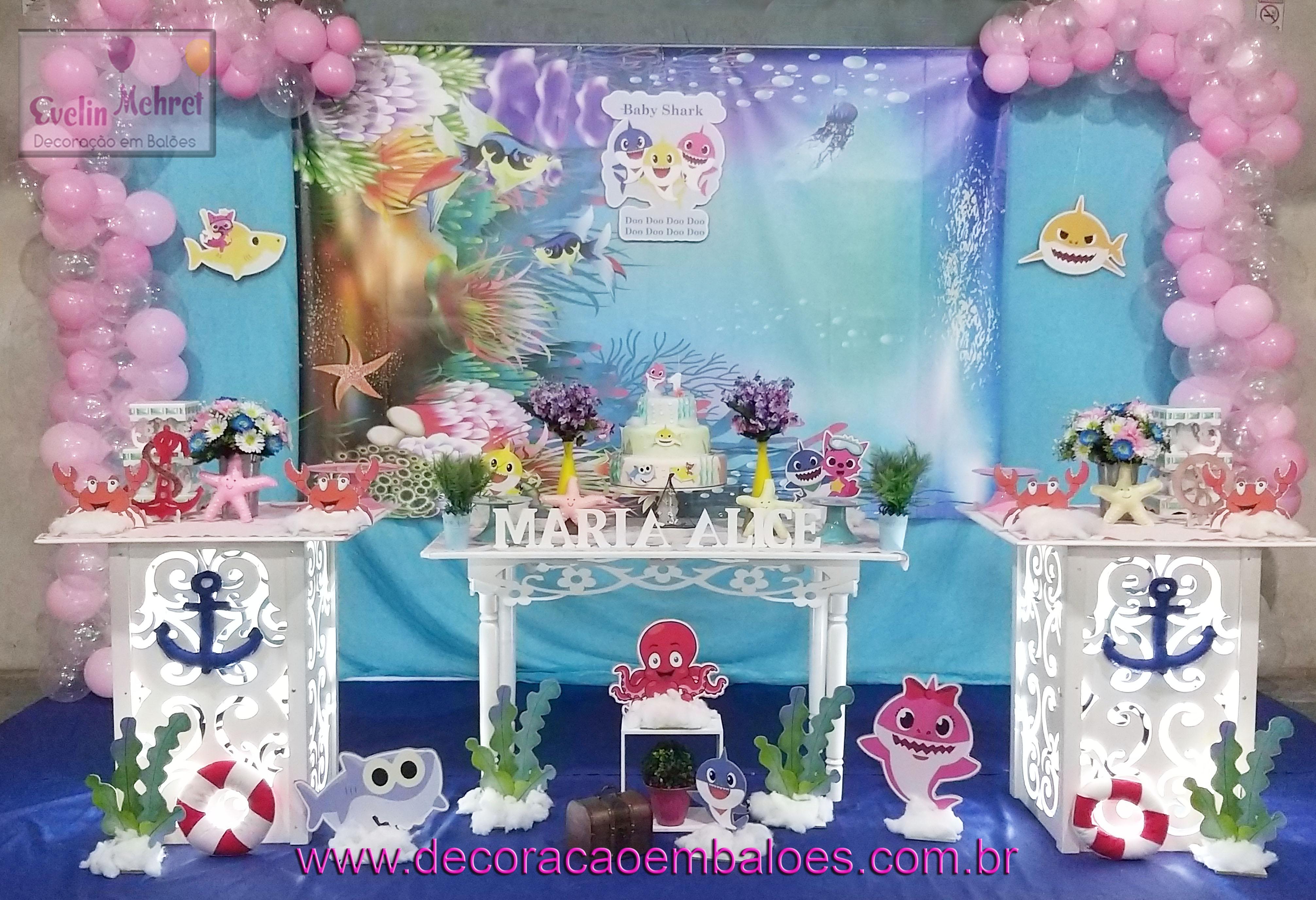 festa baby shark Feminina