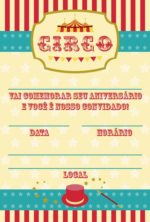 festa circo Convite