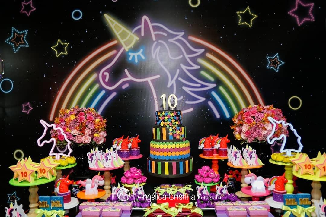 festa unicornio Neon