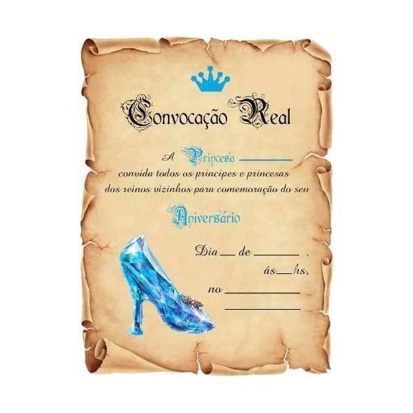 convite cinderela Pergaminho