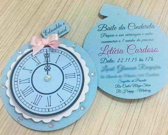 convite cinderela Simples