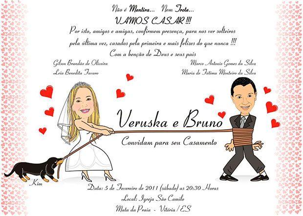convite de noivado Engraçado