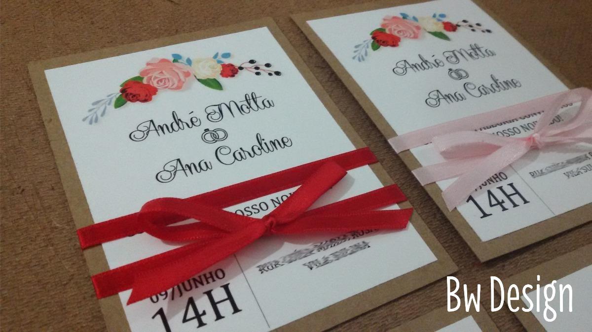 convite de noivado Rústico