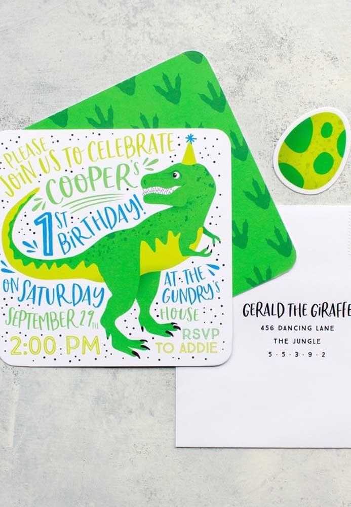 convite dinossauro Criativo