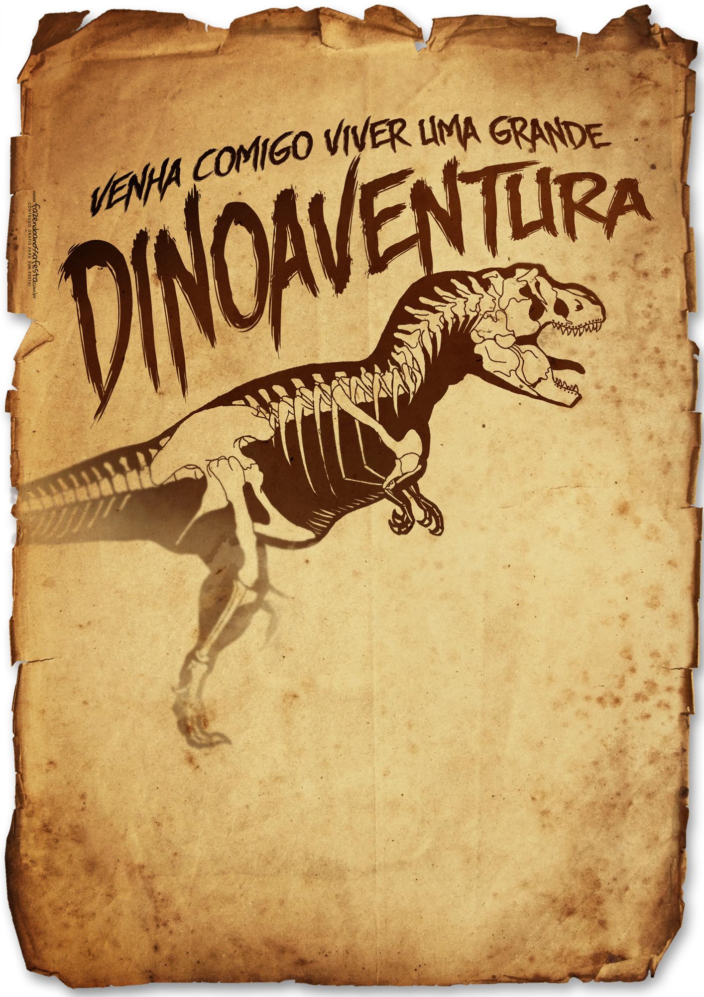 convite dinossauro Digital