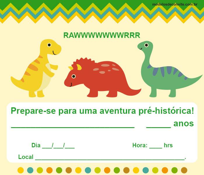Convite Dinossauro 40 Ideias Diferentes De Convites