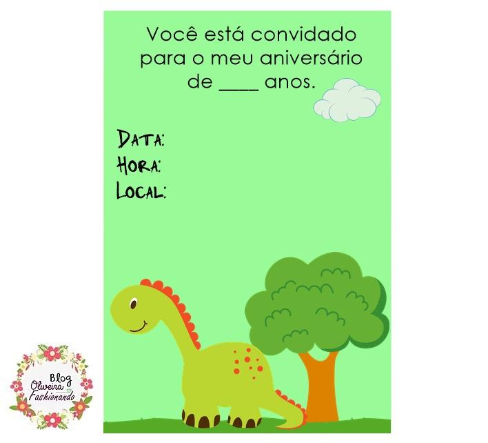 convite dinossauro Para Imprimir