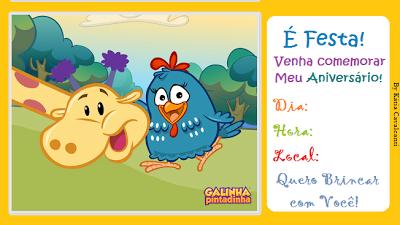 convite galinha pintadinha Para Editar