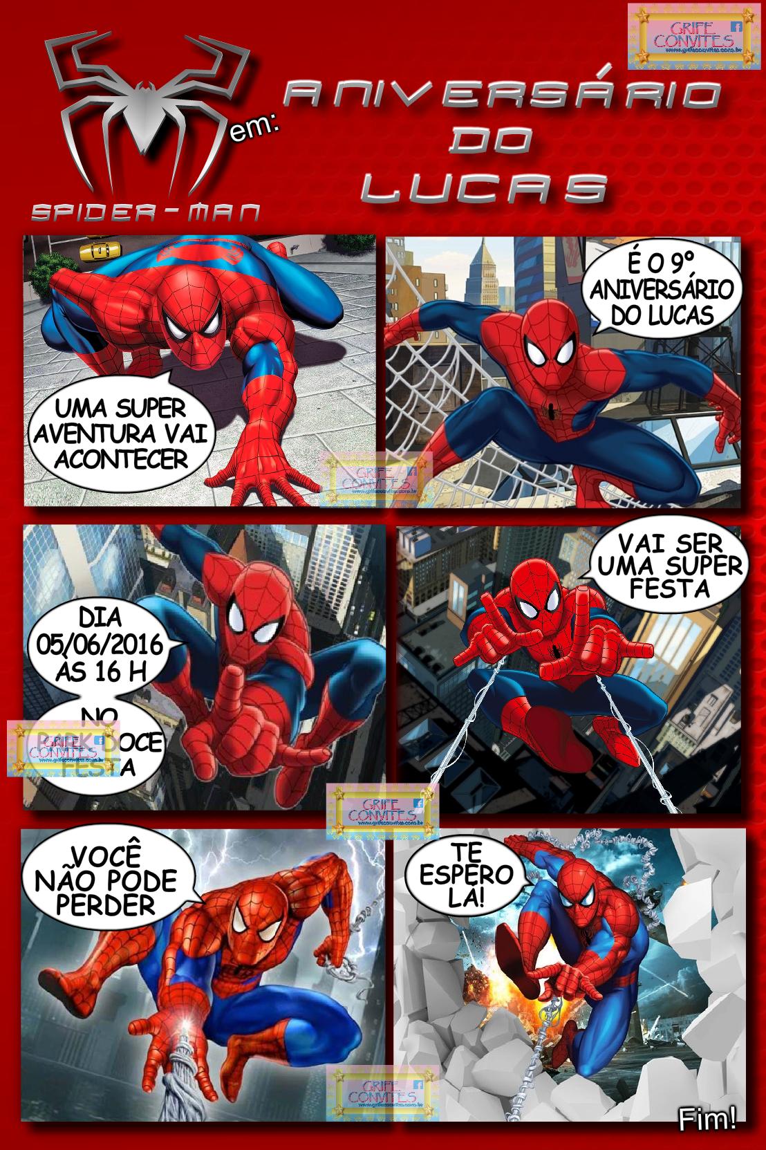 Convite Homem-Aranha Em Quadrinhos