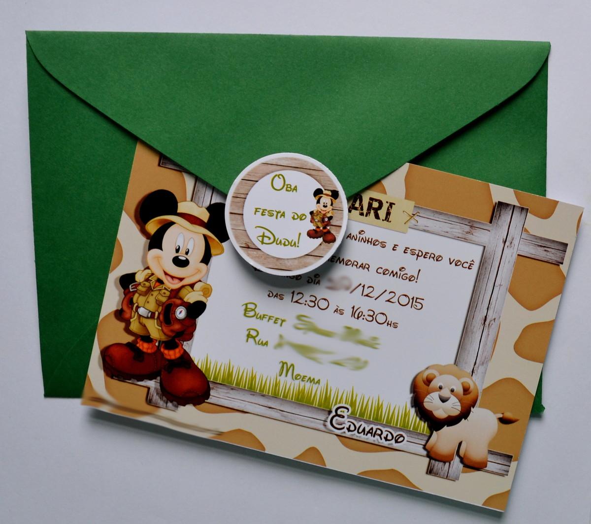 convite safari Mickey