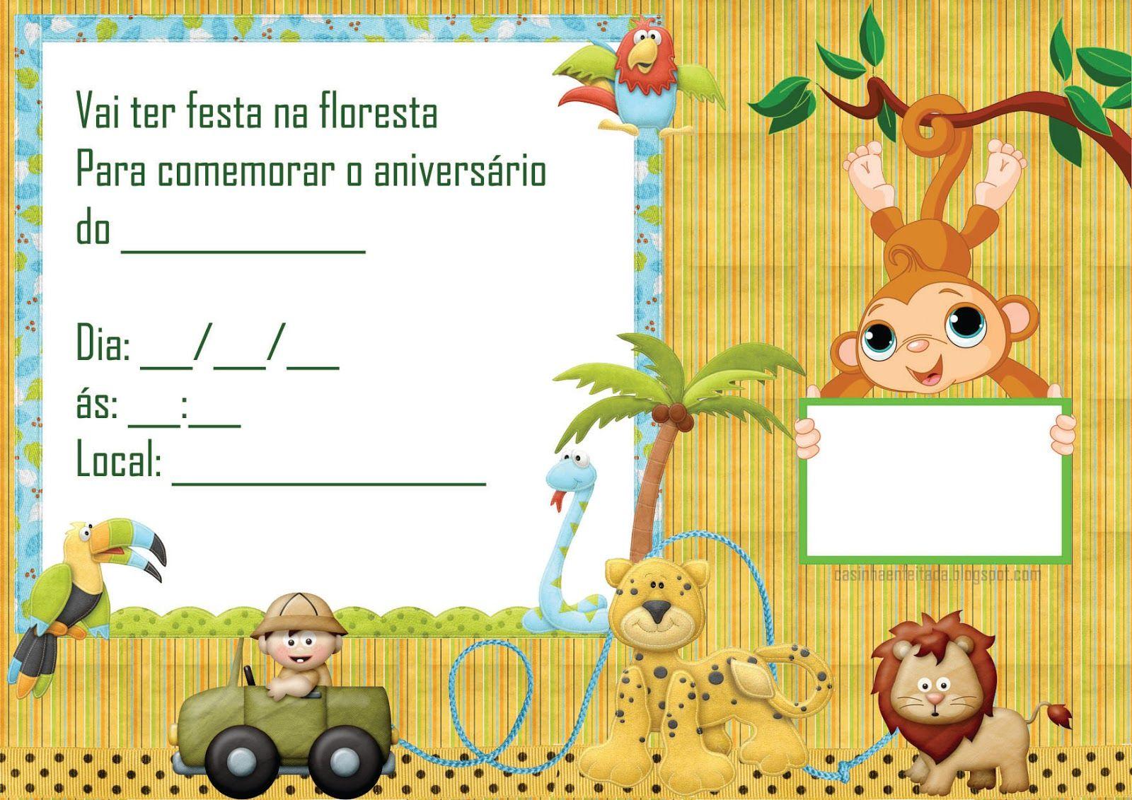 convite safari Para Imprimir