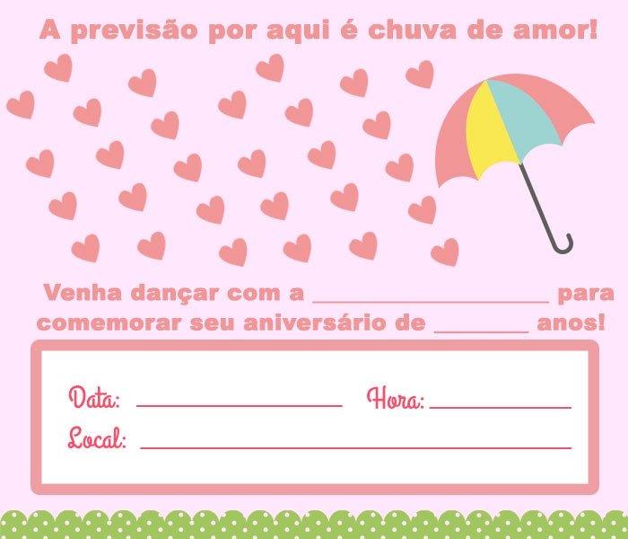 festa chuva de amor Convite