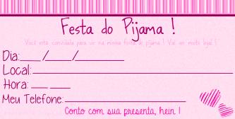 festa pijama Convite