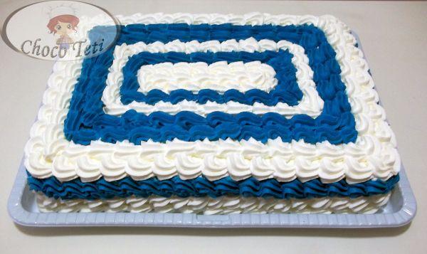 Bolo Azul e Branco Chantilly