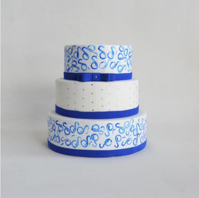 Bolo Azul e Branco Fake