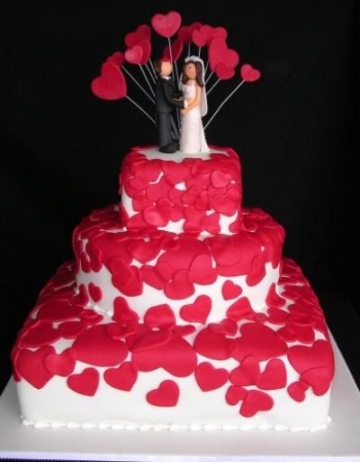 bolo de casamento quadrado Com Coração