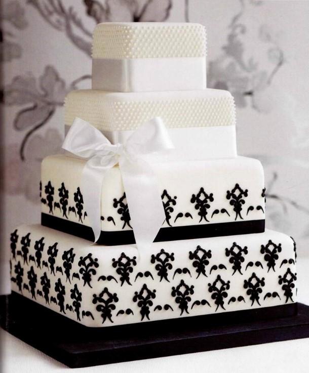 bolo preto e branco Quadrado
