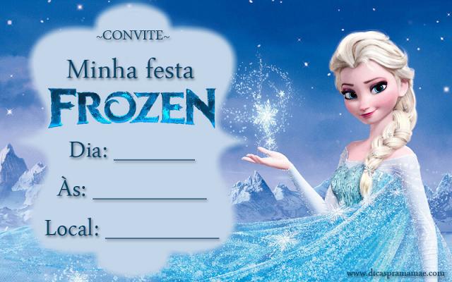 convite frozen Para Imprimir