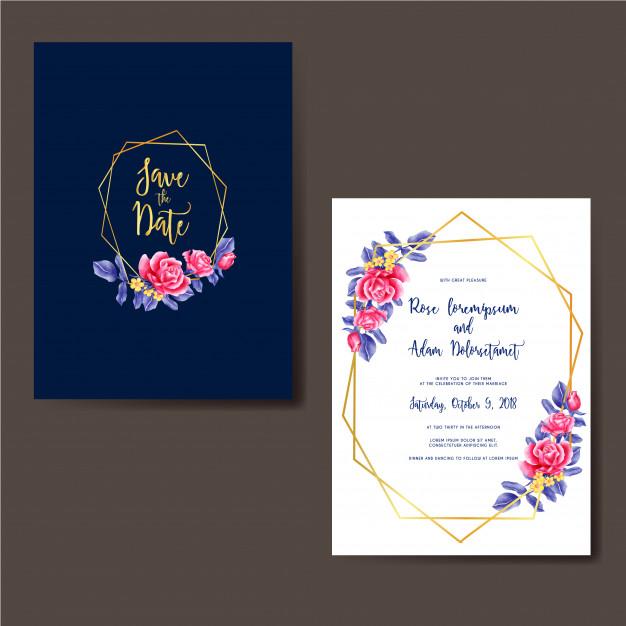 convite rosa E Azul