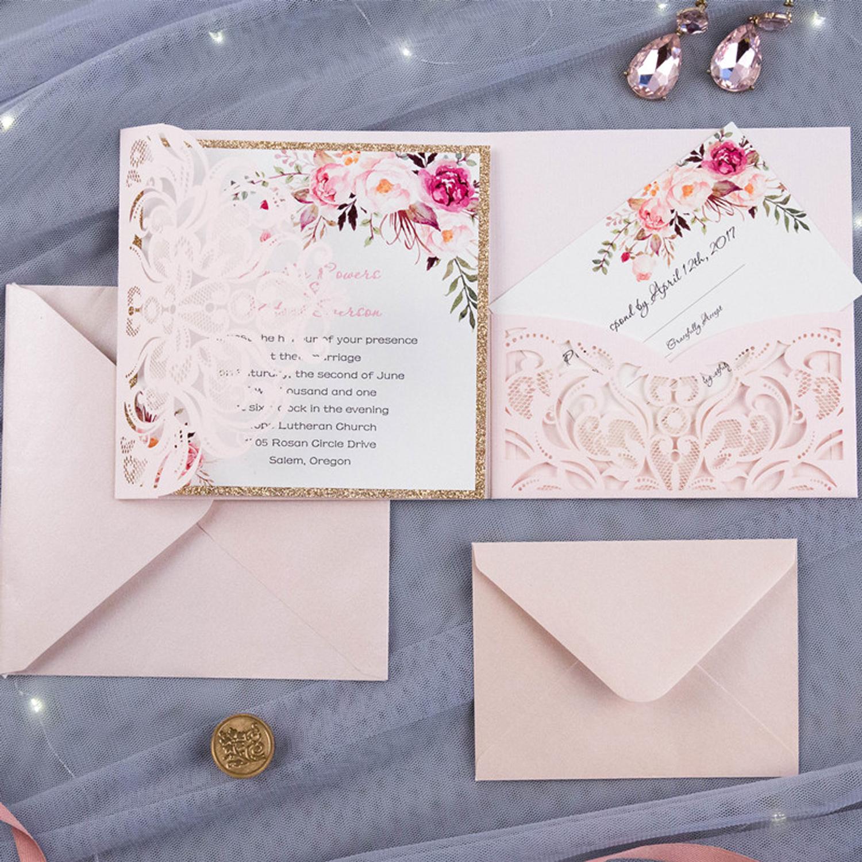 convite rosa E Branco