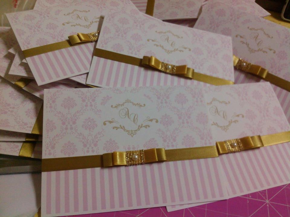 convite rosa E Dourado