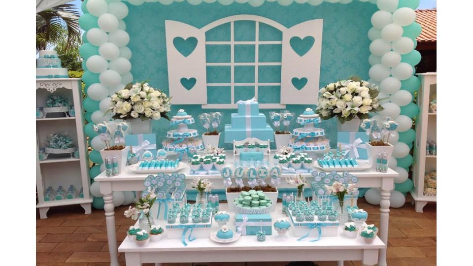festa azul tiffany E Branco