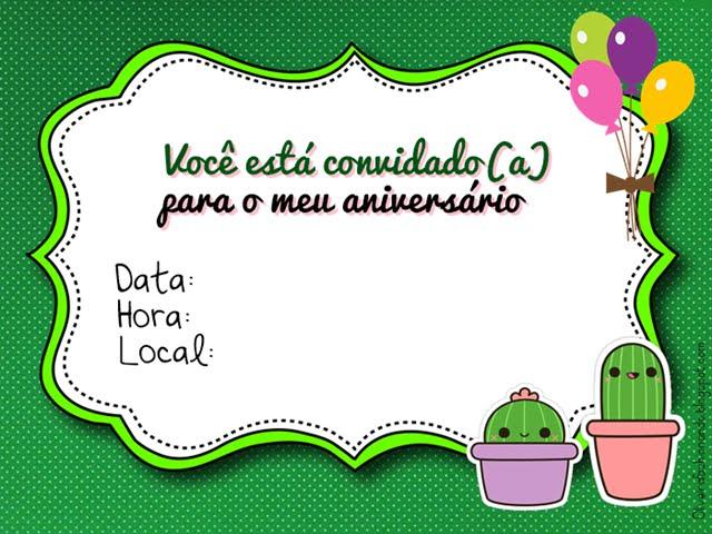 festa cactos Convite